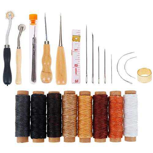 Leather Tooling Kit 33 Pieces Hand Sewing Craft Tools Include Pressure Wheel Tool, Sewing Needles, Waxed Thread, Drilling Awl for DIY Leather Craft