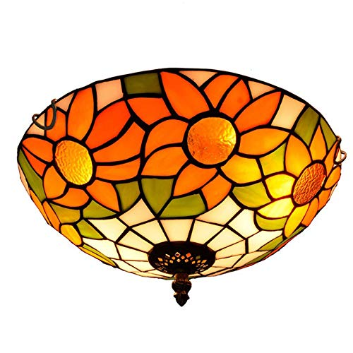 HOUTIAXDYT Luz del Techo de Las Cristal de la Flor del Sol de 12 Pulgadas, lámpara Colgante de Techo Pastoral de Estilo Tiffany 2-Luces, para Dormitorio, Pasillo, balcón, Entrada, baño