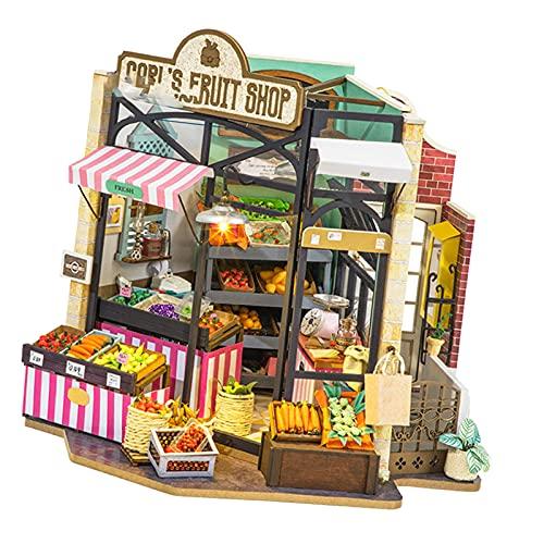 Hellery Kreatives Haus Miniatur Puppenhaus Realistisches Möbelset Holzladen mit LED-Licht 3D-Puzzles Valentinstag Valentine - Obstgeschäft