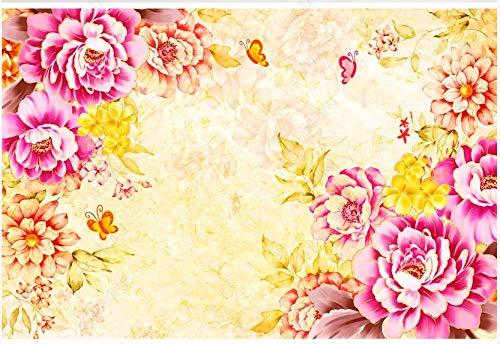 Fototapete Vliestapete 3D Rotgoldener Kunstblumenschmetterling Fototapete 3D Effekt Tapeten Wanddeko Wandbilder Schlafzimmer 400x280cm