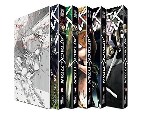 Produktbild von Attack on Titan, Bände 6-10 im Sammelschuber mit Extra: Atemberaubende Fantasy-Action im Kampf gegen grauenhafte Titanen