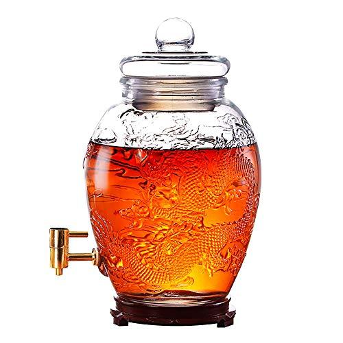 GLJJQMY Wein kann Mason Jar Wasserspender Saft Bier Punsch Eistee kaltes Getränk Maschine 15L / 25L (Size : 15L-Stainless Steel - Wood Base)