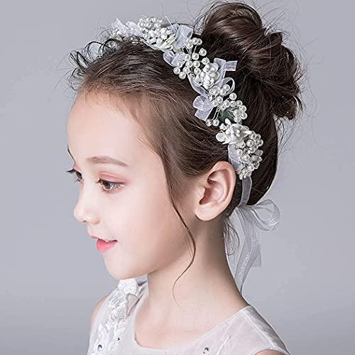 IYOU Adorno para el pelo de princesa con flores blancas y perlas de cristal, para novia, boda, accesorio para el pelo para niñas
