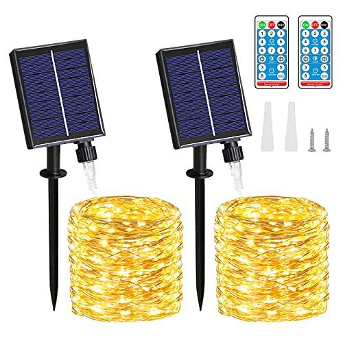 Cadena Luces Solares - 2 Pack 20M/65.6FT 150 LED IP65...