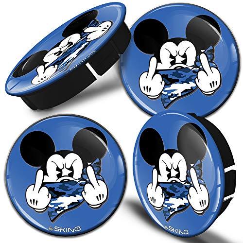 SkinoEu 4 x 60mm Universal Tapas de Rueda de Centro Mouse Dedo Medio Tapacubos para Llantas Coche C 37