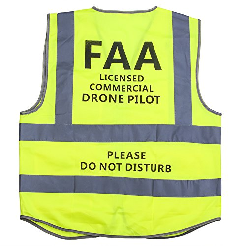 MYRIANN DJI Drone Safety Reflective Vest,Cool Cloth Vest with Commercial Drone Pilot Please Do Not Disturb,Excellent Flight Experience with DJI Inspire,DJI Phantom 3 4, DJI Mavic Pro (Green, XL)
