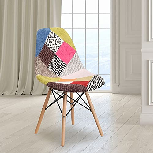 Flash Furniture Elon Series Milan Patchwork Fabric Chair with Wooden Legs