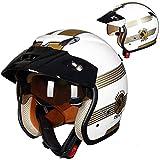 ZHXH Casco moto adulto Harley Casco aperto, 3/4 Cruiser Harley Casco pilota Certificato DOT Retro visiera Casco da viaggio con obiettivo incorporato Fodera rimovibile Mezzo casco per scooter