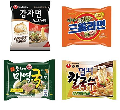 韓国ラーメン 韓国なのに辛くないぞ!?シリーズ 人気4点セット | カムジャ麺(ジャガイモラーメン) 三養ラーメン 牛肉わかめラーメン 煮干しカルグクス | ラーメン 韓国 インスタント 乾麺 韓国食品