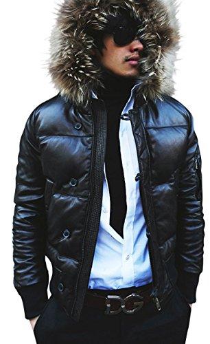 CD D C Mens Genuine Leather Hooded Hoodie Puffer Jacket Real Fur Trim Black S