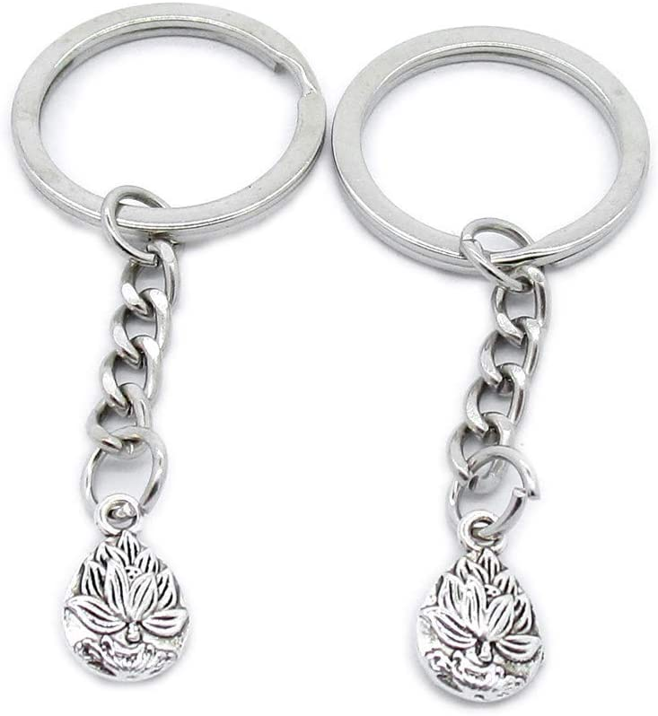 100 PCS Antique Silver Keyrings Keychains Key Ring Chains Tags Clasps AA461 Buddha Buddhism Lotus