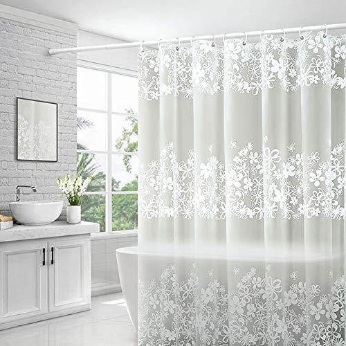 Tenda da Doccia con Motivo Floreale Bianco 180x200 (cm), Tenda da Bagno Impermeabile PEVA con Magneti, Anti-muffa, Anti-batteri, Tende da Vasca Inodore con Ganci (Bathroom curtain-IT)
