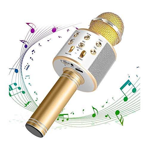 Qchea Altavoz portátil de mano máquina de karaoke, micrófono de karaoke inalámbrica, 4 en 1 Bluetooth baile Luces del hogar KTV de DVD con función de grabación, compatible con Android y dispositivos i