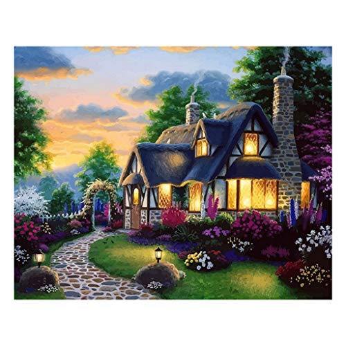 """Shiyingl Dreamy Log Cabin Paint by Numbers DIY Acrylic Painting Kit for Kids & Adults 16"""" x 20""""with 3 Brushes"""