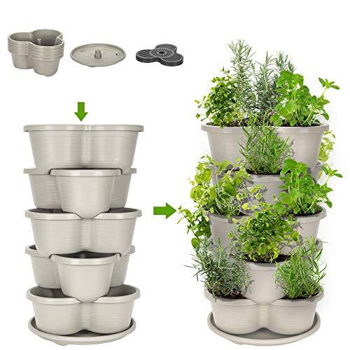 Amazing Creation Stackable Planter Vertical Garden for Growing Strawberries, Herbs, Flowers, Vegetables and Succulents| Indoor/Outdoor 5 Tier Gardening Tower| Vertical Planter (Off-White)