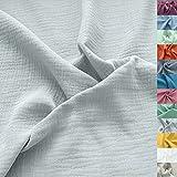 TOLKO Musselin Stoff Meterware | Baby weicher ÖkoTex Baumwollstoff | Kleid Bluse Tuch Decke Tagesdecke Bettwäsche | Double Gauze 130cm breit Nähstoffe Baumwollstoffe uni Dekostoff 50cm (Hell Grau)