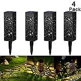 Luci solari da sentiero 4 pezzi, Swonuk Lampade da giardino solari impermeabili a LED per ...