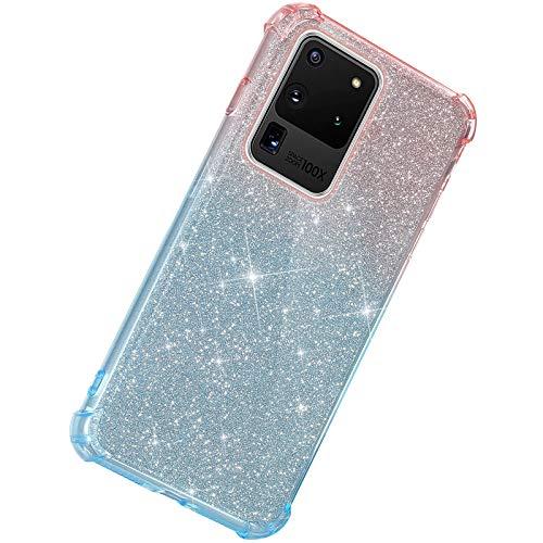 Herbests Kompatibel mit Samsung Galaxy S20 Ultra Hülle Durchsichtig Farbverlauf Glänzend Kristall Glitzer Transparent TPU Silikon Handyhülle Ultradünn Stoßfest Bumper Case Schutzhülle,Rot Blau