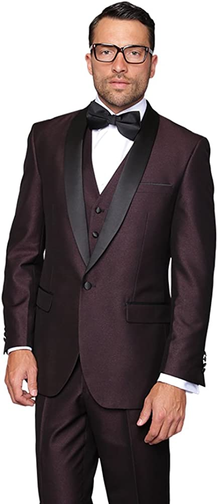 Mens 3pc Wool Plum Maroon Tuxedo Suit 1 Button Single Breasted w Vest and Pants