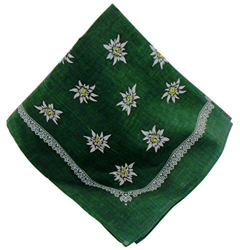 Grünes Nickituch mit Edelweiß-Motiv | Bandana aus 100% Baumwolle | 53 x 53 cm | Halstuch | Teichmann