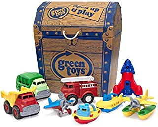 Green Toys Toy Chest with Toys - Pretend Play, Motor Skills, Kids Toy Vehicles and Bath Boats. No BPA, phthalates, PVC. Di...