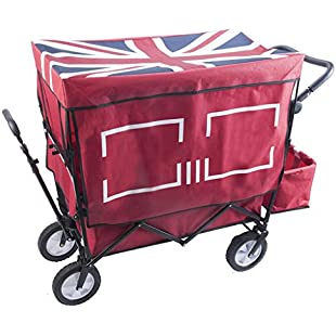 Customer reviews Ali Lamps@ Household Child Shopping Cart, Camping Portable Folding Pull The Truck, Four-wheel Outdoor With Cloth Cover Trolley, 120Kg Load (Color  RED):Amedama