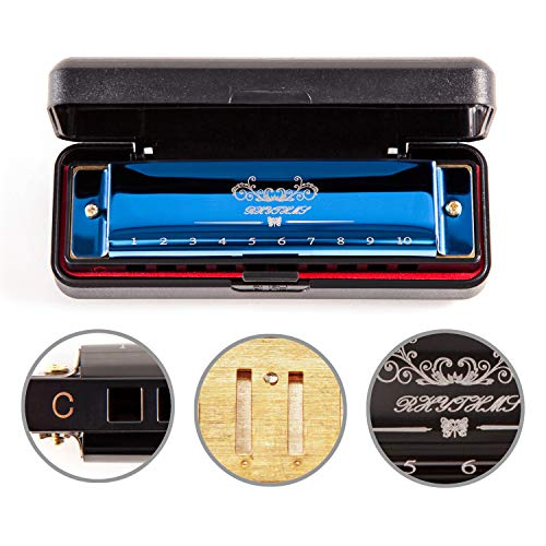 Harmonica For Beginner Kids Or Adult,10 Holes 20 Tunes Mouth Organ,Mini Childrens Harmonica,Harmonica Professional With Case And Cleaning Cloth,Blues Deluxe Harmonica, blue