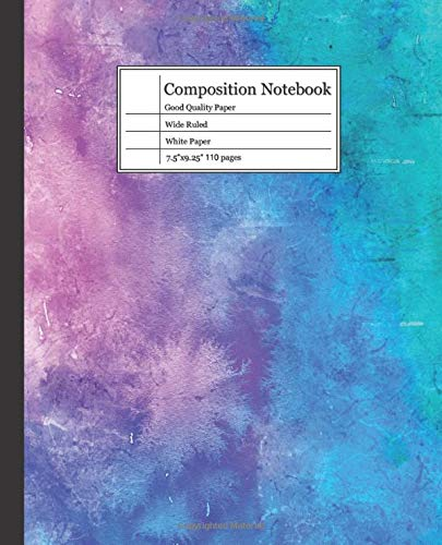 Composition NotebooK: Water Color Notebook journal college ruled thick paper white.Line journal for Boys and girls.110 pages