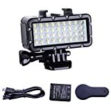 Suptig luz de buceo de alta potencia regulable impermeable LED Video Light luz buceo luz subacuática impermeable 147ft (45m) para Gopro Max Hero 9 Hero 8 Hero 7 Hero5/6/5S/4/4S/3 /2/YI Action Cam