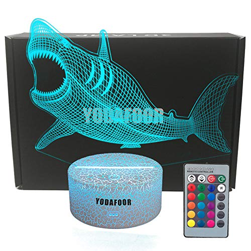 YODAFOOR 3D Illusion Shark Night Lights for Kids Megalodon Shark Toy Christmas Birthday Gifts for Boys Girls Kids Baby 7 Colors Remote Control Desk Night Lamp (Megalodon)
