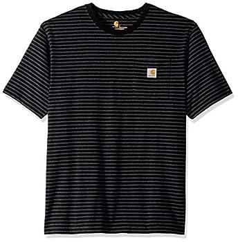 Carhartt Men s K87 Workwear Short Sleeve T-Shirt  Regular and Big & Tall Sizes  Black Stripe Large