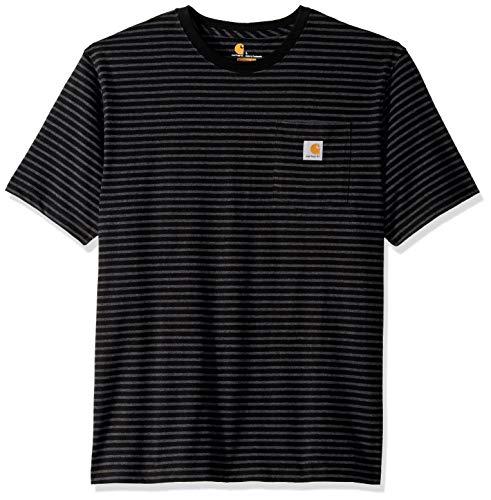 Carhartt Men's Big and Tall K87 Workwear Short Sleeve T-Shirt (Regular and Big & Tall Sizes), Black Stripe, 4X-Large