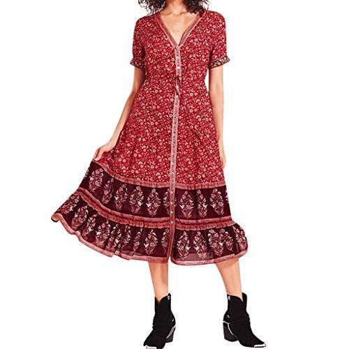 iYmitz Heißer Mode Bohemian Strandkleid für Frauen Plus Größe Lässig Kurzärmliges Abendkleidmit V-Ausschnitt Getäfelten Drucken Sommerkleid