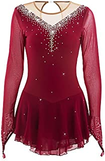 Skating Queen Figure Skating Dress for Girls Women Ice Skating Performance Competition Dress Breathable Mesh Fabric Quick Dry Handmade Skating Dress Long Sleeved Wine Red