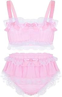 Alvivi Men's Ruffled Lace Frilly Satin Sissy Lingerie Set Sleeveless Crop Top Bloomer Panties Underwear