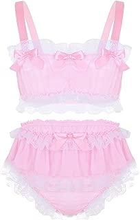 Sissy Men's 2 Pieces Lingerie Ruffled Crop Top Skirted Panties Nightwear Set