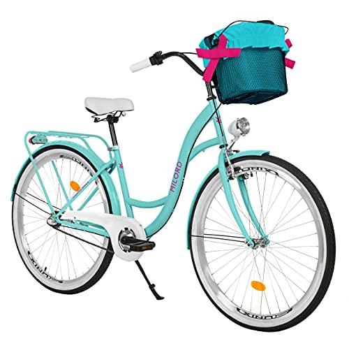 Milord. Komfort Fahrrad mit Rückenträger, Hollandrad, Damenfahrrad, 3-Gang, Aqua Blau, 26 Zoll