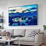 KWzEQ Imprimir en Lienzo Blue Lake and Stones Pictures Wall Art Decor homefor Living Room pósters70x105cmPintura sin Marco