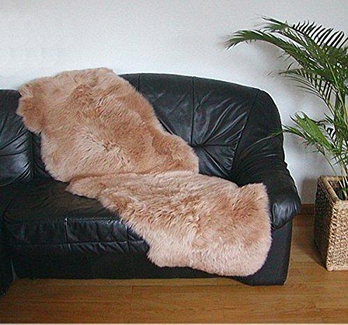 HEITMANN australische Doppel Lammfelle aus 2 Fellen Camel gefärbt, voll waschbar, ca. 175x63 cm