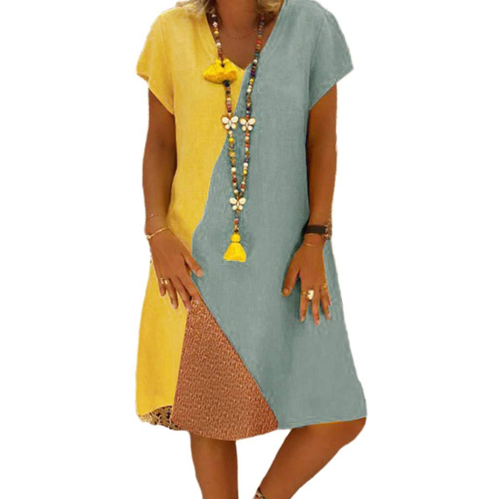 Available at Amazon: yangerous Summer Plus Size Midi Long T-Shirt Dress V-Neck Short Sleeves Triple Color Block Beach Sundress