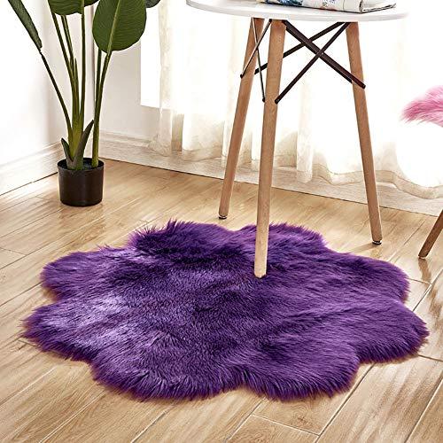 Alfombra de interior súper suave y gruesa para dormitorio, sala de estar, decoración de niños, color morado, 90 cm