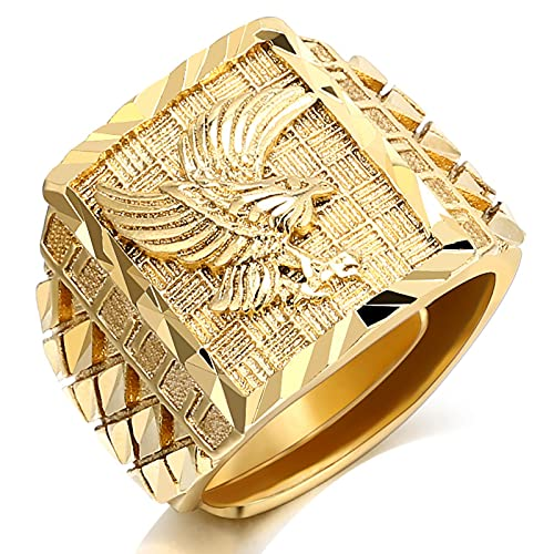 TTGE Milangirl Punk Rock Eagle Men 's Ring Luxury Gold Color Resizeable Finger Jewelry Never Fade
