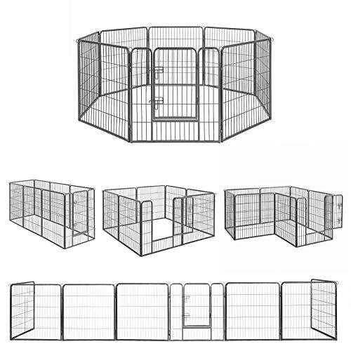 FEANDREA ペットサークル 大型犬用 中型犬用 ペットフェンス カタチ変更可 扉付き 全成長期使用可 室内外兼用 犬ゲージ パネル8枚 折り畳み式 組立簡単 PPK88G 高さ80cm