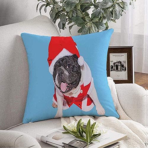 Fundas de Almohada Funda Cozy Young Black White French Red Bulldog Disfraz de Amigo de Navidad Animal Mas Animals Vida Salvaje Vacaciones Throw Pillow Cojín Funda para sofá Decoración del hogar, 16