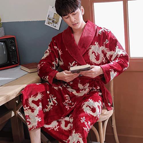 Liuy Badjas, kimono, pluche, sjaalkraag, molton, super zacht, comfortabel, warm, voor mannen of vrouwen