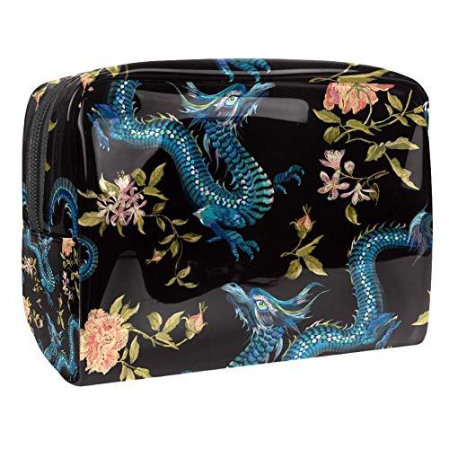 Trousse de toilette multifonction pour femme Motif dragon fleur rose brodée