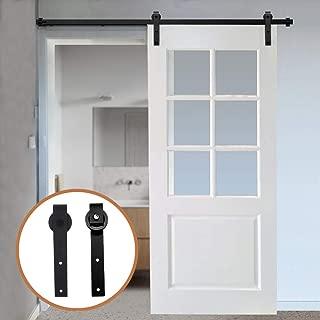 LWZH 7FT Sliding Wood Barn Door Steel Hardware Kit for Single Door(Black J Shaped Hangers)