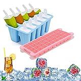 Mlryh Juego de Moldes para Helados de Silicona 36 Moldes Bandeja de Hielo y 10 Popsicle Mold Certificado LFGB y Sin BPA Máquina de Hielo Reutilizable
