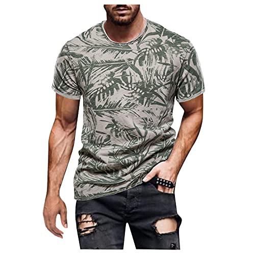Camisetas de manga corta para hombre, de verano, de manga corta, con estampado retro, corte ajustado, básico. B verde XL