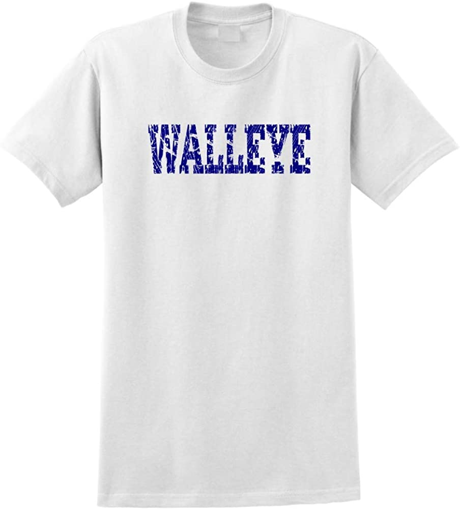 Custom printed distressed style WALLEYE word on mens or youth t-shirt